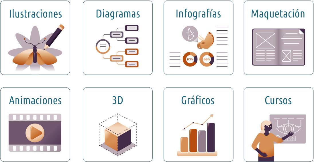 Descripción de los servicios de ilustración científica del estudio NorArte - Visual Science: ilustraciones, diagramas, infografías, maquetación, animaciones, 3D, gráficos, formación