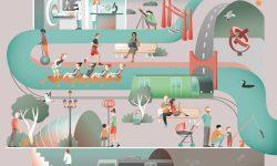 Infografía de conclusiones sobre la exposición de La Ría del Nervión a vista de Ciencia y Tecnología de NorArte Studio Visual Science. Se ilustra un resumen de lo que podemos ver al rededor de la ría del Nervión en Bilbao: desde personas haciendo deporte, familias paseando, el metro, la investigación y medicina en el hospital, el arte de las esculturas, el puente bizkaia etc.